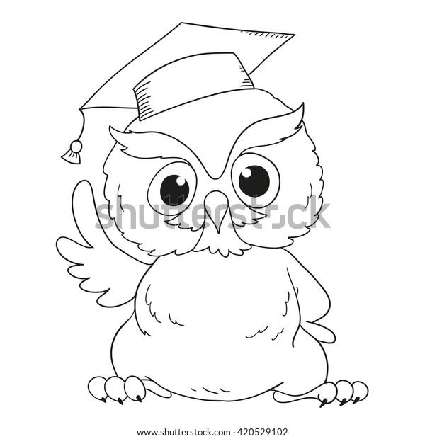 Cartoon Character Graduation Owl Coloring Book Stock Vector ...