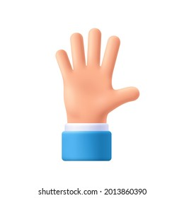 Cartoon character hand goodwill gesture. Open outstretched hand, showing five fingers, extended in greeting. 3d emoji vector illustration.