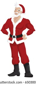 A cartoon character of a handsome Santa Claus.