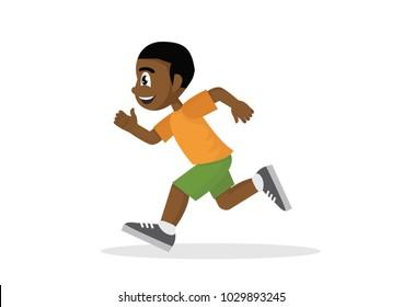Cartoon character, Happy African Boy running.,vector eps10