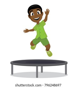 Cartoon character, Happy African Boy jumping on the trampoline., vector eps10