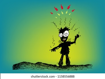 Cartoon character hit by lightning or was electrocuted concept. Editable Clip Art.