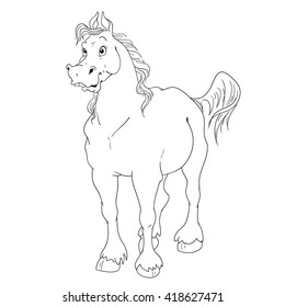 Cartoon character for horse coloring book. Vector