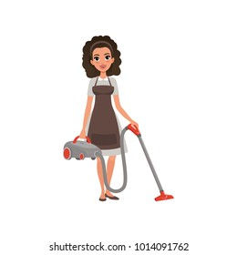 Cartoon character of hotel maid with vacuum cleaner. Young curly-haired girl in dress and apron. House cleaning service. Professional at work. Flat vector design
