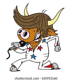 Cartoon character illustration of Elvis impersonator singing cow