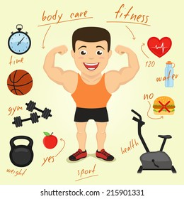 cartoon character with infographics elements. fitness sport and health concept illustration