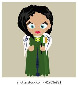 Cartoon character. Irish girl in national ethnic costume holding the flag of Ireland