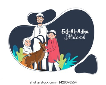 Cartoon character of Islamic family with goat on abstract blue background for Eid-Al-Adha Mubarak poster or flyer design. Can be Used for card design.