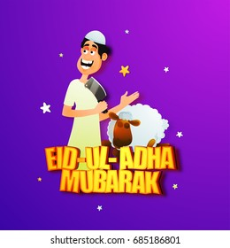 Cartoon character of Islamic Man holding knife with sheep on stars decorated purple background for Eid-Ul-Adha Festival.