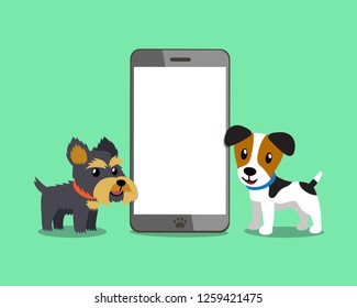 Cartoon character jack russell terrier dog and yorkshire terrier dog with smartphone for design.