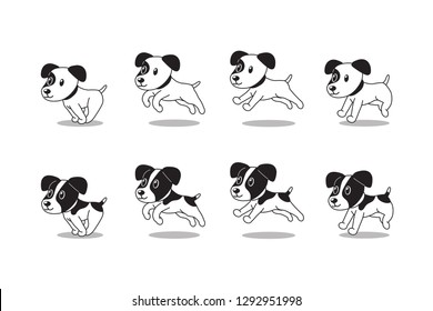 Cartoon character jack russell terrier dogs running step for design.