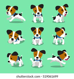 Cartoon character jack russell terrier dog set
