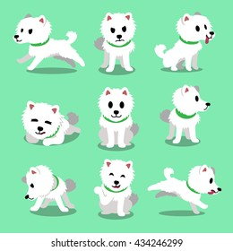 Cartoon character japanese spitz dog poses