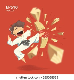 Cartoon character karate kid breaking wooden board illustration