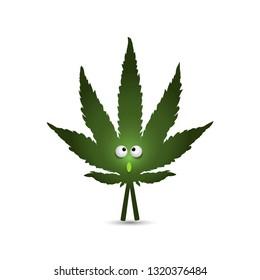 Cartoon character - a leaf of hemp. Live marijuana leaf isolated on white background