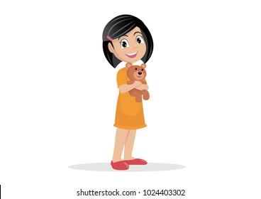 Cartoon character, Little Girl Hugging her Teddy Bear., vector eps10