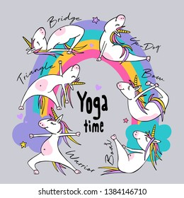 Cartoon character Little white Unicorn on a rainbow. Practicing Yoga. Healthy Lifestyle. Fun poster, t-shirt composition, handmade vector illustration.
