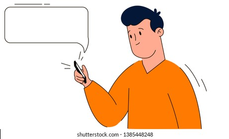 Cartoon character male smartphone messaging bubble and checking his phone