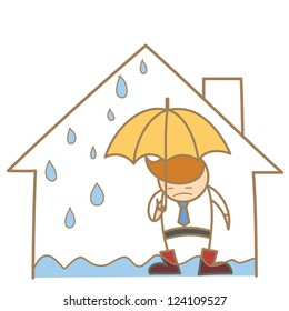 cartoon character of man in the leak roof house