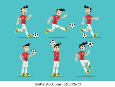 Cartoon character, Man playing soccer., vector eps10