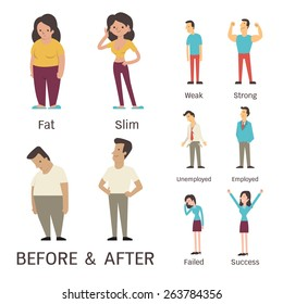 Cartoon character of man and woman in before and after concept. Presenting to fat, slim, weak, strong, unemployed, employed, failed and success.