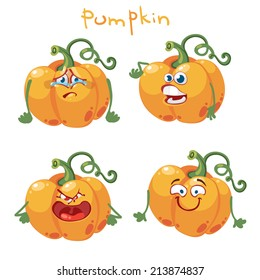Cartoon character with many expressions pumpkin