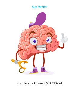cartoon character mascot of the brain in a cap holding a slingshot and waving