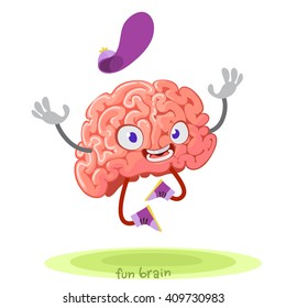 cartoon character mascot of the brain in cap jumping with joy