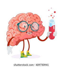 cartoon character mascot of the brain in glasses holding a test tube with red liquid