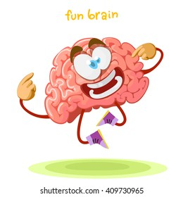 cartoon character mascot brain happily jumping on a green meadow