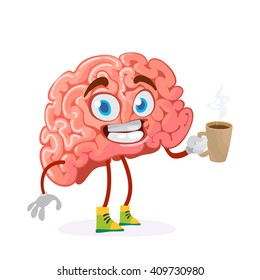 cartoon character mascot of the brain holds a mug of hot drink coffee or tea