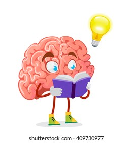 cartoon character mascot of the brain reads a purple book