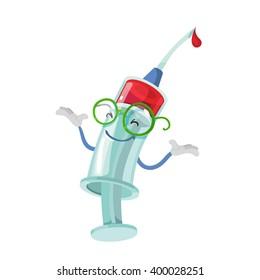 Cartoon character mascot medical syringe on white background