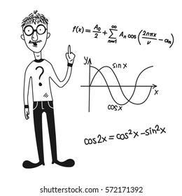 Cartoon character and mathematical symbols.Vector.