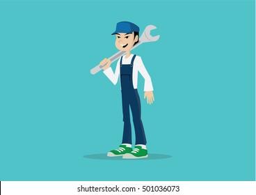 Cartoon character, Mechanic holding huge wrench., vector eps10