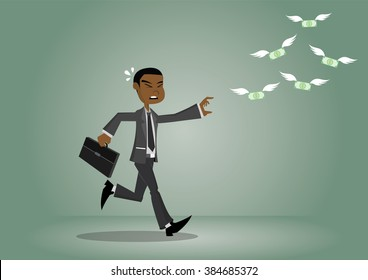 Cartoon character, Money flying away from the African businessman., vector eps10