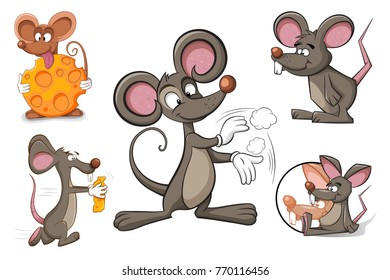 Cartoon character mouse and cheese. Funny and cute illustration.