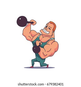 Cartoon Character Muscle man with Kettlebells. Vector illustration