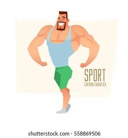 Cartoon character, muscular man, vector illustration, fitness model, posing, bodybuilding, mens physics posing