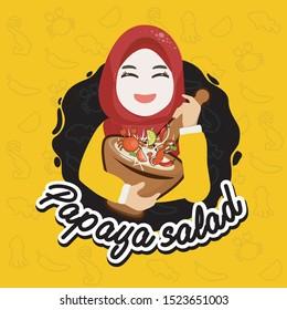Cartoon character muslim hejab ,Halal muslim Kitchen,muslim cooking papaya salad,Woman Chef,Logo woman Muslim Chef, Chef mascot