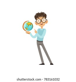 Cartoon character of nerd boy with world globe in hand. Cheerful kid in blue sweater and gray pants. Intelligent schoolboy. Flat vector design