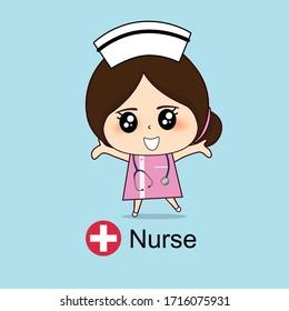 Cartoon character Nurse Design, Medical worker, Medical concept. Vector illustration design.