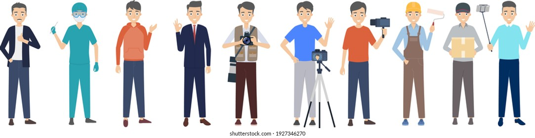Cartoon character occupation image design team men different identities