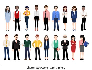 Cartoon character with office people collection. Vector illustration of diverse cartoon standing men and women of various races, ages and body type. Isolated on white.