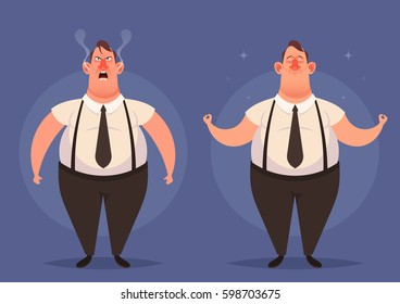 Cartoon Character. Office Worker: Angry and Calm. Vector Illustration