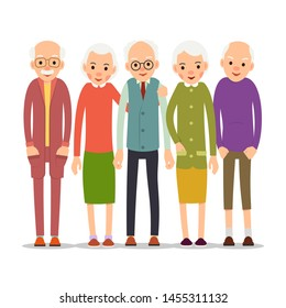 Cartoon character old group. Older people are standing together and smiling. Retired elderly senior age couple. Happy aged friends. Female male symbol. Flat illustration isolated on white background.