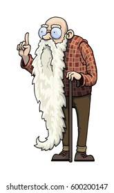 cartoon character, old wise man, with long beard, vector illustration