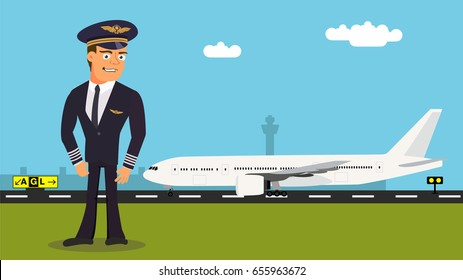Cartoon character- pilot. Profession vector illustration of a pilot with aircraft in background