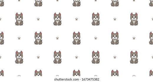 Cartoon character pitbull terrier dog seamless pattern background for design.