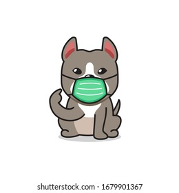 Cartoon character pitbull terrier dog wearing protective face mask for design.